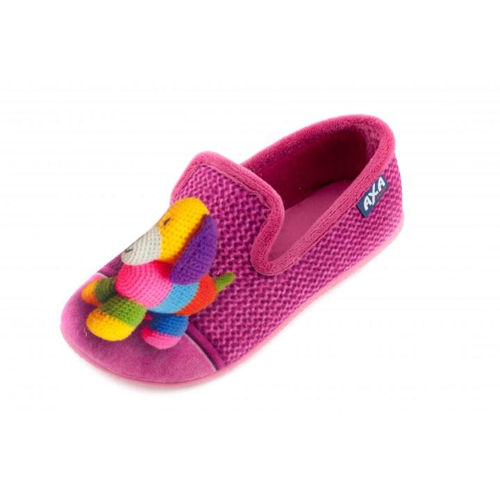 Домашние детские тапочки AXA Сane di filo розовые
