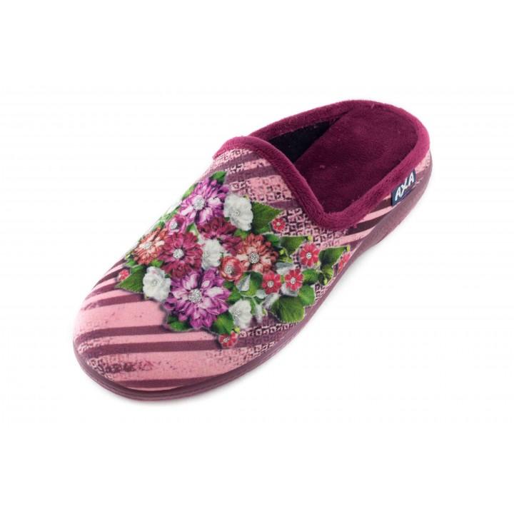 Домашние женские тапочки AXA Bouquet di lusso бордовые