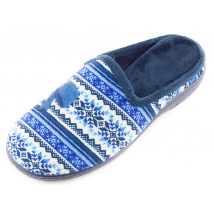 Домашние женские тапочки AXA Fiocchi di neve caldi голубые