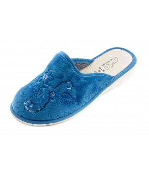 Домашние женские тапочки AXA Fiori lurex голубые
