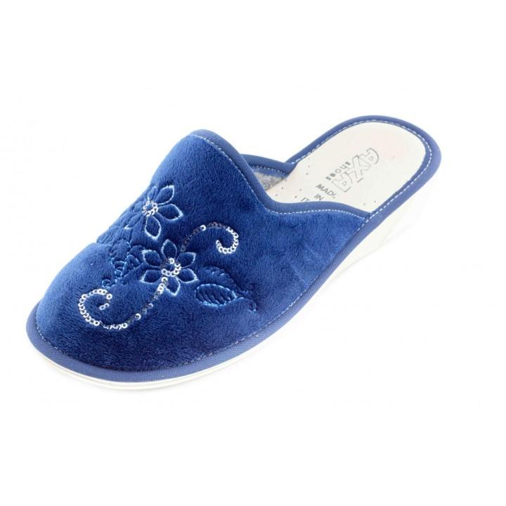 Домашние женские тапочки AXA Fiori lurex синие