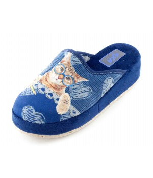 Домашние женские тапочки AXA Gatti su un Cuneo синие