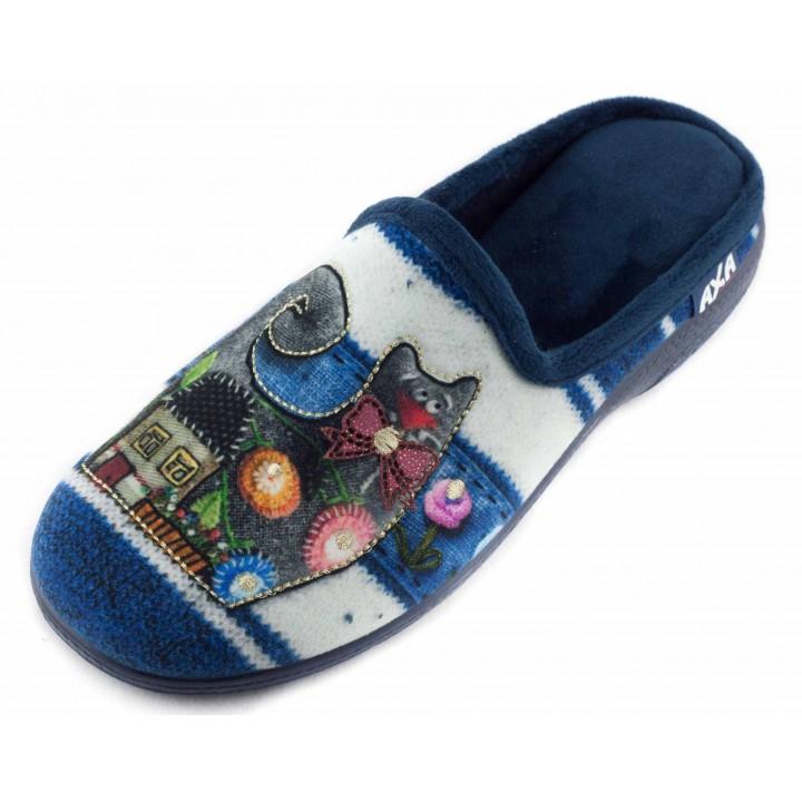 Домашние женские тапочки AXA Gatto allegro голубые