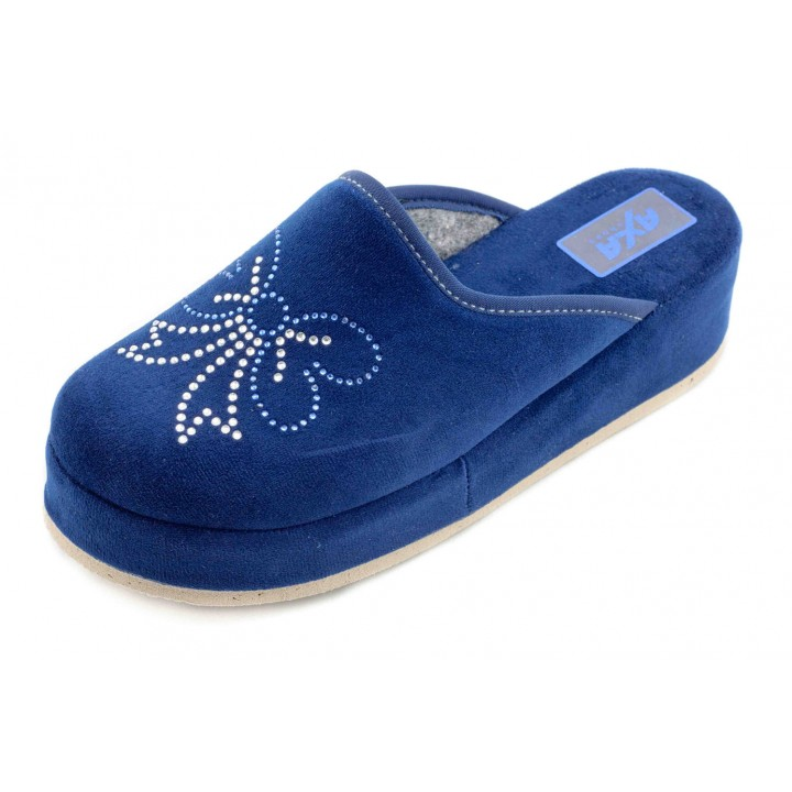 Домашние женские тапочки AXA Pietre Farfalle синие
