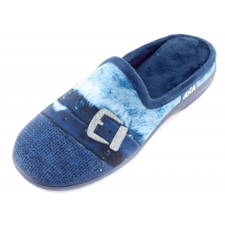 Домашние женские тапочки AXA Fibbia dargento синие
