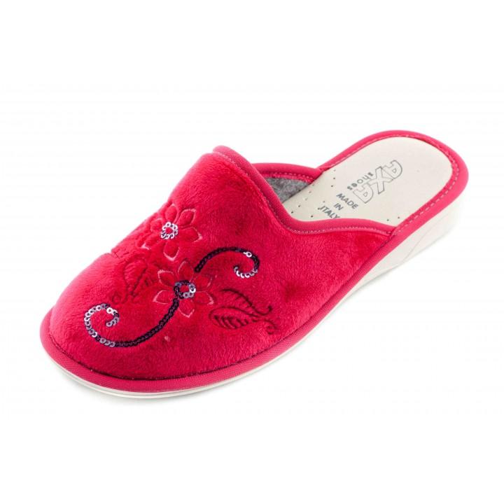 Домашние женские тапочки AXA Fiori lurex красные