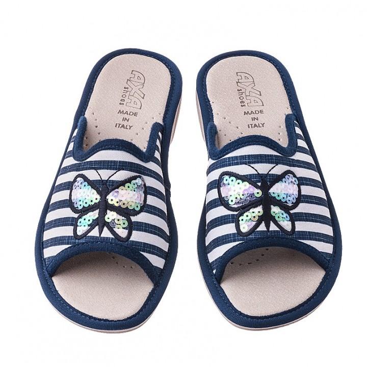 Домашняя женская обувь AXA Farfalla In Madreperla Blue